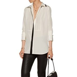 Vince leather trimmed white button up shirt